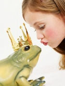 Girl Kissing Frog Prince --- Image by © Sandra Seckinger/zefa/Corbis