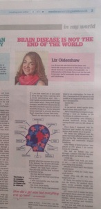 Living life with a brain injury column in The Western Morning News