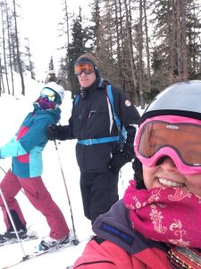 Skiing Ruth Dad and Liz